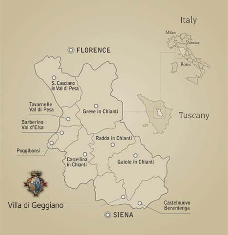 Chianti Region Italy Map.The Chianti Region Villa Di Geggiano